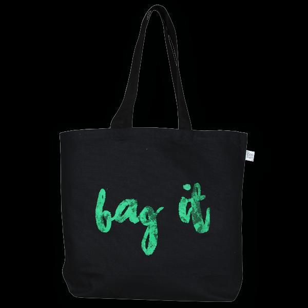 EcoRight Canvas Large Tote Bag, Bag it! - Black