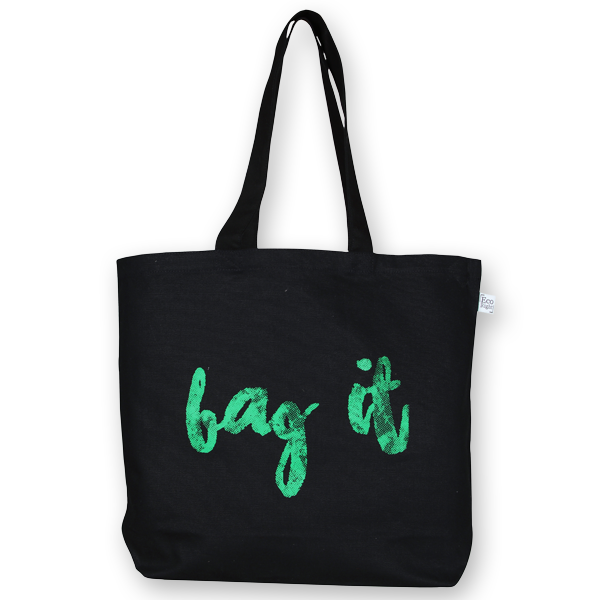 EcoRight Canvas Large Tote Bag, Bag it! – Black