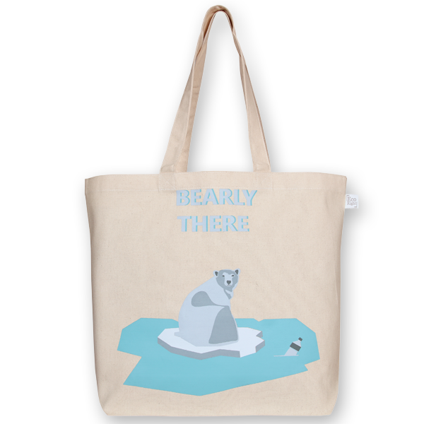 Canvas large tote Bag Bearly there Natural-EcoRight