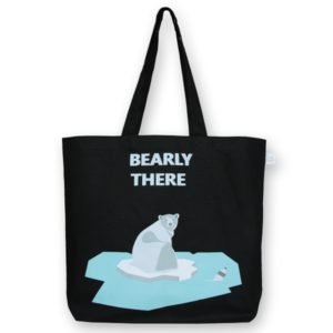 EcoRight Canvas Large Tote Bag, Bearly There - Black