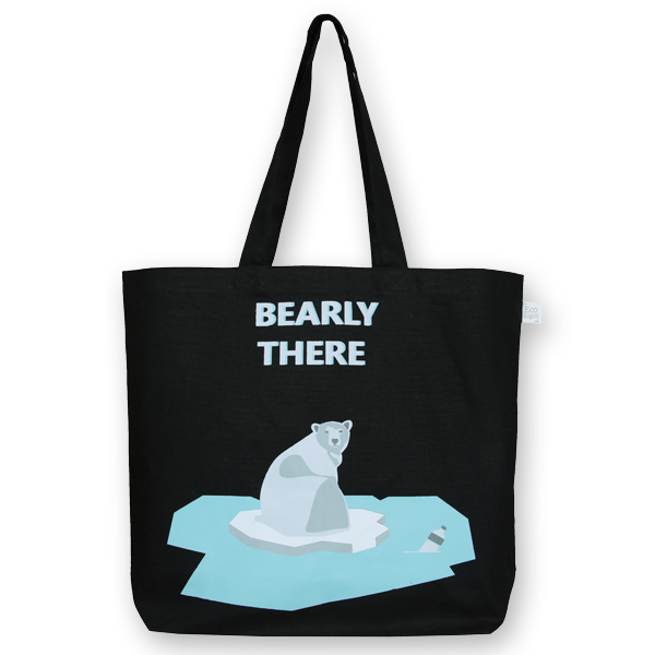 EcoRight Canvas Large Tote Bag, Bearly There – Black