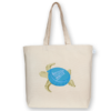 Canvas large tote Bag Bottle cap turtle Natural-EcoRight