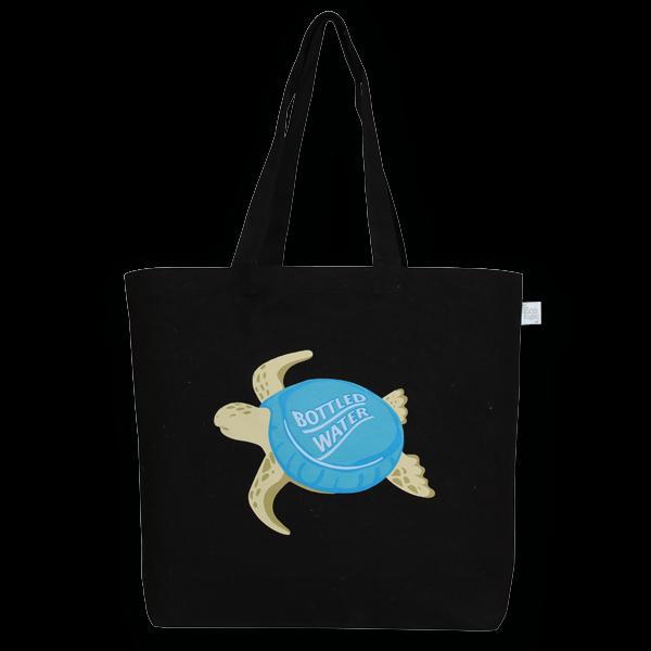 EcoRight Canvas Large Tote Bag, Plastic Turtle - Black
