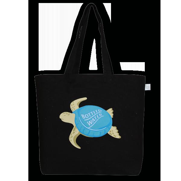 EcoRight Canvas Large Tote Bag, Plastic Turtle – Black