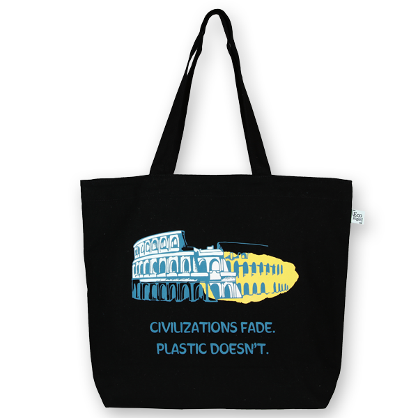 EcoRight Canvas Large Tote Bag, Civilizations Fade - Black