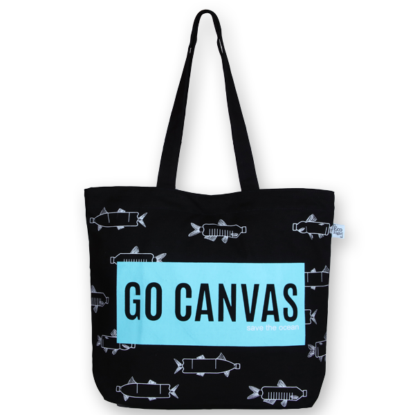 EcoRight Canvas Large Tote Bag, Go Canvas - Black