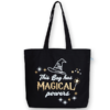 EcoRight Canvas Large Tote Bag, Magical Powers - Black