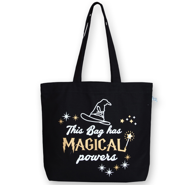 EcoRight Canvas Large Tote Bag, Magical Powers – Black