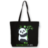 EcoRight Canvas Large Tote Bag, Bamboozled Panda - Black