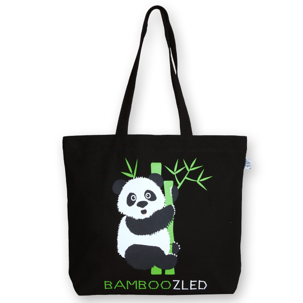 EcoRight Canvas Large Tote Bag, Bamboozled Panda – Black