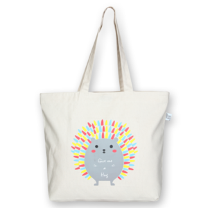 Canvas large tote Bag Porcupine Natural-EcoRight