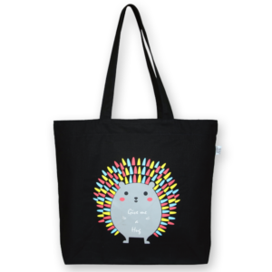 EcoRight Canvas Large Tote Bag, Porcupine Hug - Black