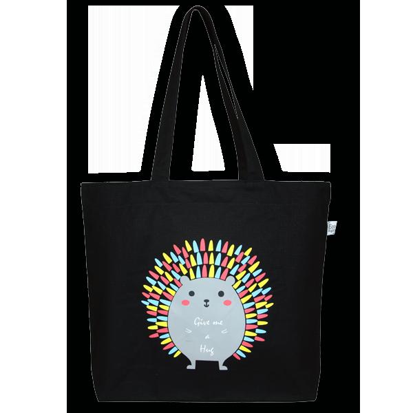 EcoRight Canvas Large Tote Bag, Porcupine Hug – Black