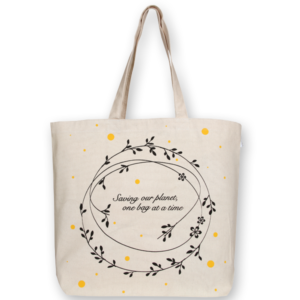 Canvas large tote Bag Save our planet Natural-EcoRight