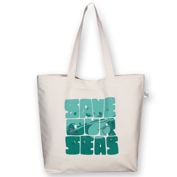 Canvas large tote Bag Save our seas Natural-EcoRight