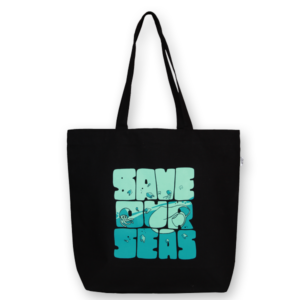 EcoRight Canvas Large Tote Bag, Save Our Seas - Black
