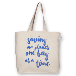 Canvas large tote Bag Saving our planet Natural-EcoRight