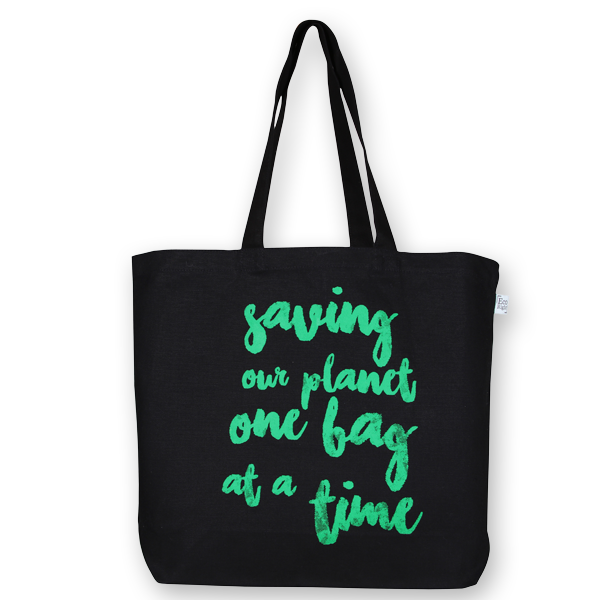 EcoRight Canvas Large Tote Bag, Saving Our Planet - Black