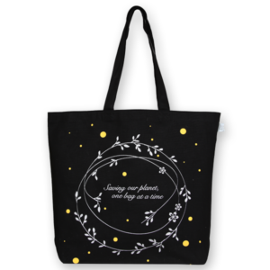 EcoRight Canvas Large Tote Bag, Save Our Planet - Black
