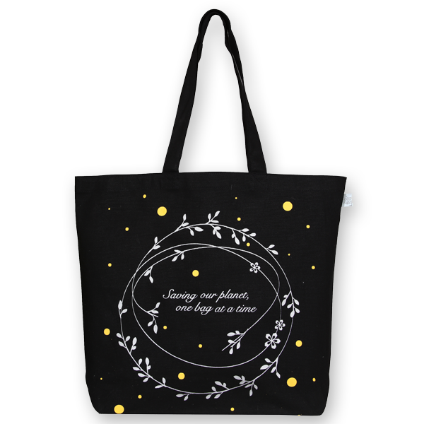 EcoRight Canvas Large Tote Bag, Save Our Planet – Black