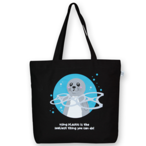 EcoRight Canvas Large Tote Bag, Sealiest thing you can do - Black