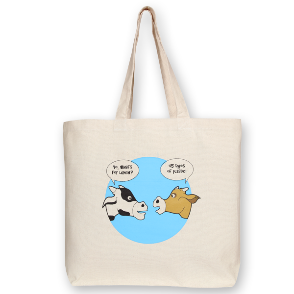 Canvas large tote Bag What's for dinner Natural-EcoRight