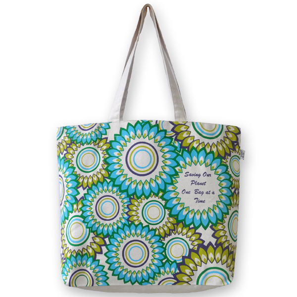 Canvas Large Tote Bag, Floral – Natural EcoRight