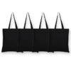 Canvas tote bags Plain black (Pack of 4) -EcoRight