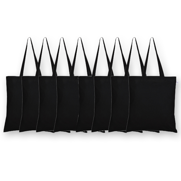Canvas tote bags Plain black (Pack of 8) -EcoRight
