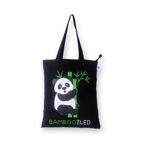 EcoRight Canvas Zipper Tote Bag, Bamboozled Panda - Black