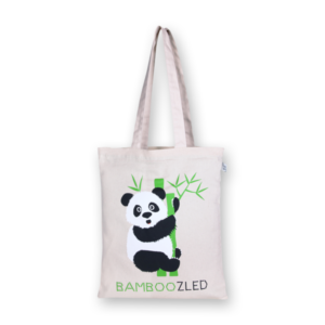 EcoRight Canvas Zipper Tote Bag, Bamboozled Panda - Natural