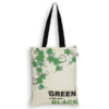 EcoRight Canvas Zipper Tote Bag, Green is the new black - Natural
