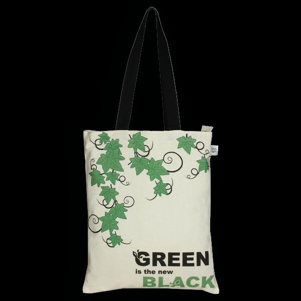 c7c345bdc Canvas Zipper Tote Bag, Green is the new black - Natural - EcoRight