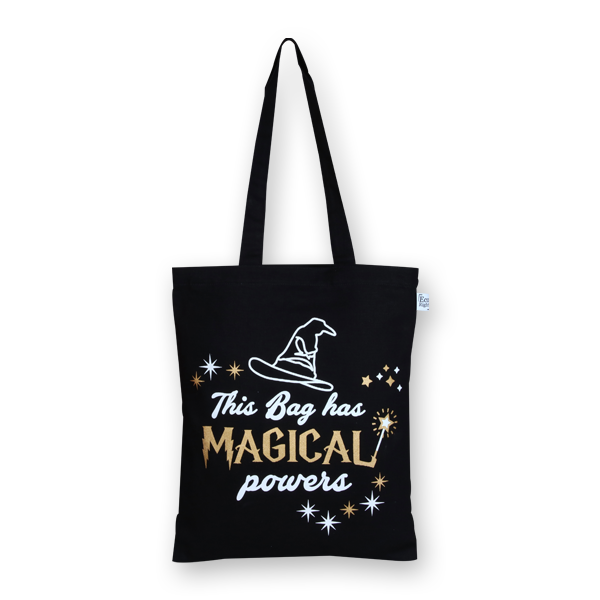 EcoRight Canvas Zipper Tote Bag, Magical Powers - Black