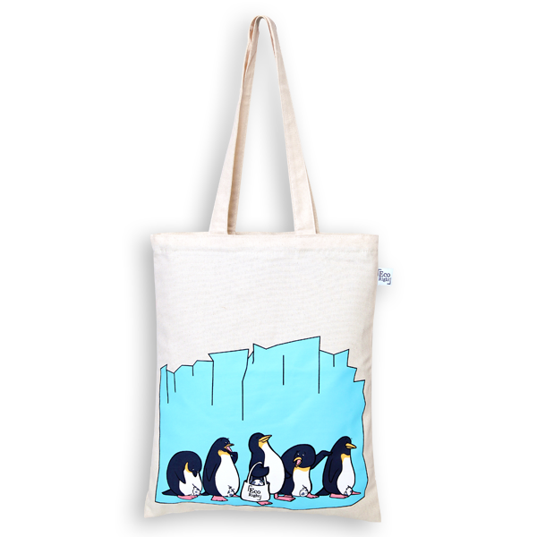 EcoRight Canvas Zipper Tote Bag, Penguin Love – Natural