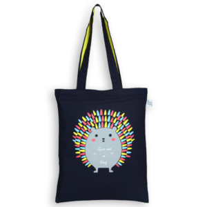 EcoRight Canvas Zipper Tote Bag, Porcupine Hug - Blue