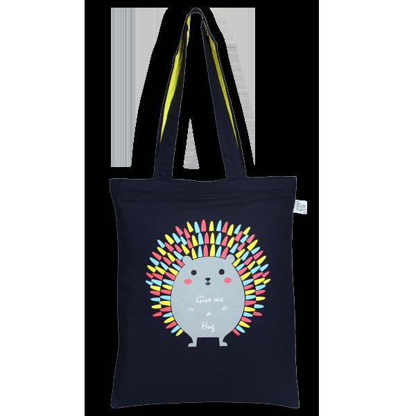 EcoRight Canvas Zipper Tote Bag, Porcupine Hug – Blue