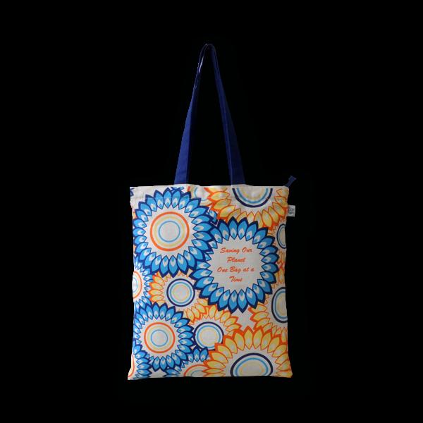 EcoRight EcoRight Canvas Zipper Tote Bag, Floral - Natural