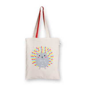 EcoRight Canvas Zipper Tote Bag, Porcupine Hug - Natural