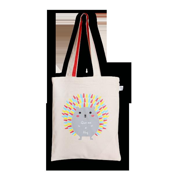 EcoRight Canvas Zipper Tote Bag, Porcupine Hug – Natural