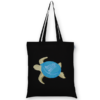 Cotton Tote Bag Bottle cap turtle Black-EcoRight