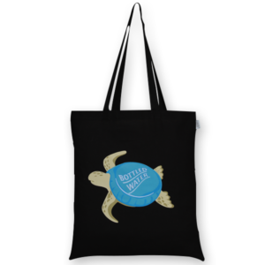 Cotton Tote Bag Bottle cap turtle Black-EcoRight