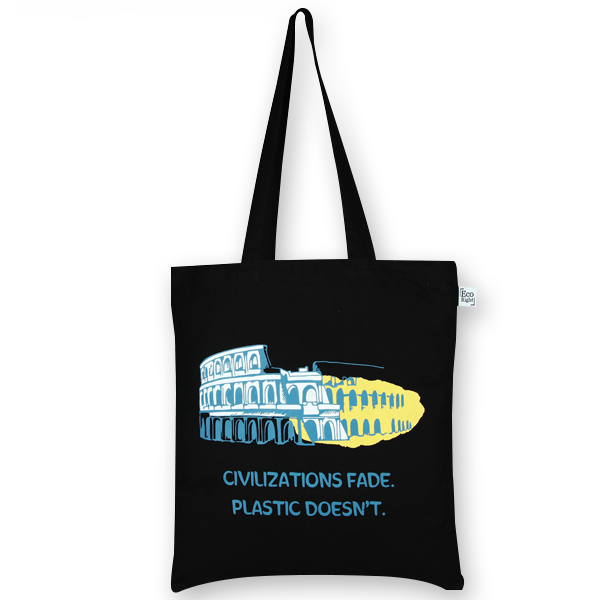 Cotton Tote Bag, Civilizations Fade - Black