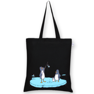 Cotton Tote Bag Confused penguins Black-EcoRight