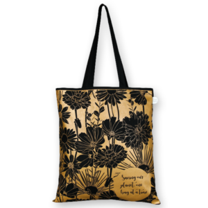 Cotton Tote Bag, Flowers - Black