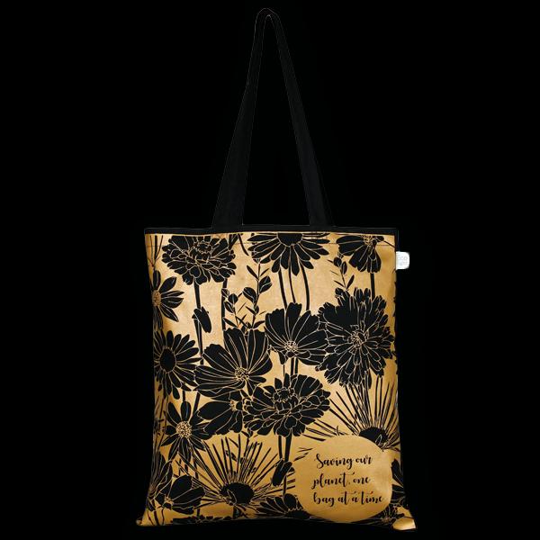 Cotton Tote Bag, Flowers - Black
