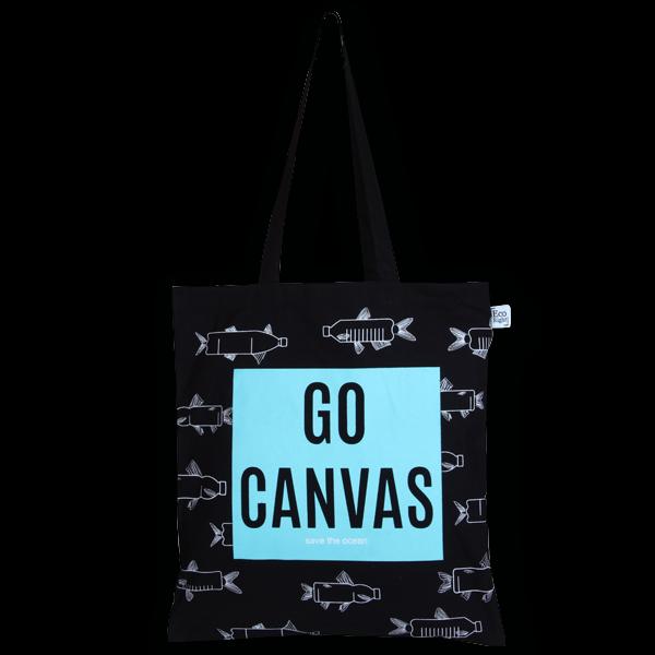 2f261ad75 Cotton Tote Bag, Go Canvas - Black - EcoRight