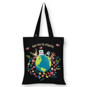 Cotton Tote Bag Happy Planet Black-EcoRight