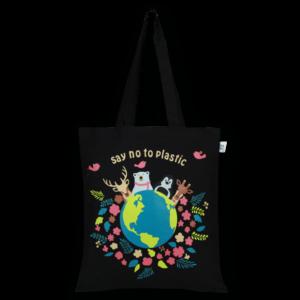 Cotton Tote Bag Happy Planet Black-EcoRight