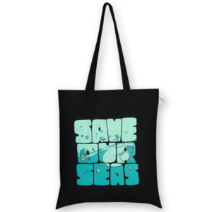 Cotton Tote Bag Save our seas Black-EcoRight